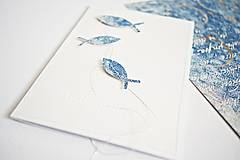 Papiernictvo - Pozdrav rybky - modré - 9429149_