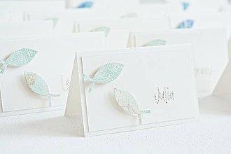 Papiernictvo - Menovky na 1.sväté prijímanie - rybky mint - 9429061_