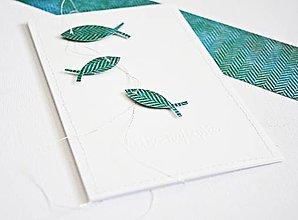 Papiernictvo - Pozdrav rybky - smaragdovo-zelené - 9429120_