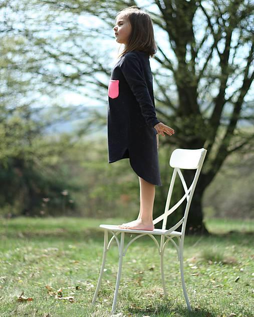 Detské oblečenie - TEPLÁKOVÉ ŠATY s dlhým rukávom, čierne. - 9429268_