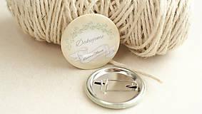 Darčeky pre svadobčanov - Svadobný odznak, svadobná brošňa - 9429697_