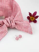 Šatky - Elegantný set - pôvabná ľanová šatka ružovej farby s náušnicami - 9431237_