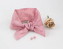 Elegantný set - pôvabná ľanová šatka ružovej farby s náušnicami