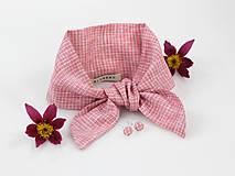 Šatky - Elegantný set - pôvabná ľanová šatka ružovej farby s náušnicami - 9431256_