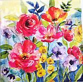 - Servítka K107- Kvety akvarel - 9429513_
