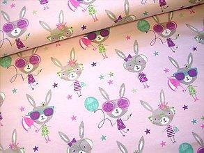 Textil - Bavlněný úplet - myšky na růžovom podklade - 9430605_