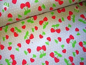 Textil - Bavlnený úplet - čerešne - cherry love - 9430640_
