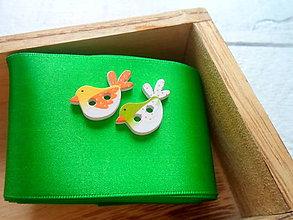 Galantéria - drevený gombík vtáčik - 9430272_