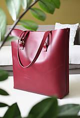 Veľké tašky - Kožená SHOPPER BAG- VÍNOVÁ - 9432334_
