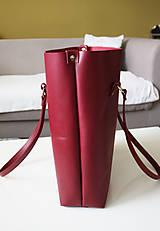 Veľké tašky - Kožená SHOPPER BAG- VÍNOVÁ - 9432335_