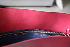 Veľké tašky - Kožená SHOPPER BAG- VÍNOVÁ - 9432336_