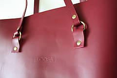 Veľké tašky - Kožená SHOPPER BAG- VÍNOVÁ - 9432338_