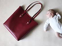 Veľké tašky - Kožená SHOPPER BAG- VÍNOVÁ - 9432342_