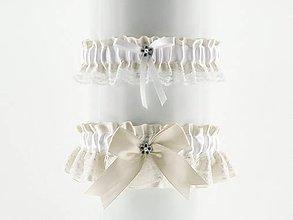 Bielizeň/Plavky - set podväzok ivory saténový s čipkou pre nevestu 01C (Bordová) - 9432609_