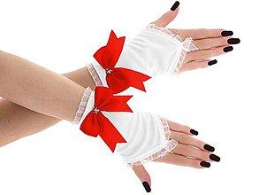 Rukavice - Dámské svadobné biele rukavice, spoločenské rukavičky 07E (Červená) - 9432676_