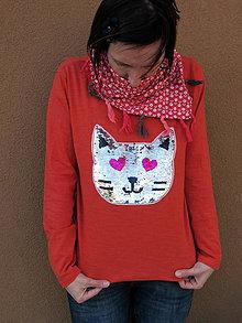 Tričká - Oranžové tričko s mačičkou, flitrové tričko - 9430162_