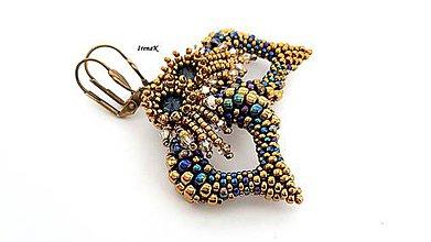 Náušnice - Wings mini (bronz-modrá) - 9430621_