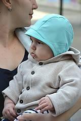 Detské čiapky - Baby čepiec 100%ľan- mini šilt - 9432702_