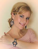 Náušnice - Loarre - šujtášové náušnice (Lososovo-šedá) - 9430596_