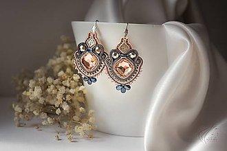 Náušnice - Loarre - šujtášové náušnice/soutache earrings (Lososovo-šedá) - 9430594_