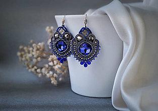 Náušnice - Loarre - šujtášové náušnice/soutache earrings (Tmavomodrá-šedá) - 9430606_