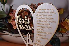 Darčeky pre svadobčanov - Poďakovanie Rodičom srdce vyrezávané 18 - 9429176_