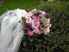 Kytice pre nevestu - svadobná kytica..ružová pivonka - 9432578_