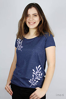 Tričká - Dámske tričko modrý melír kvet V - 9429832_