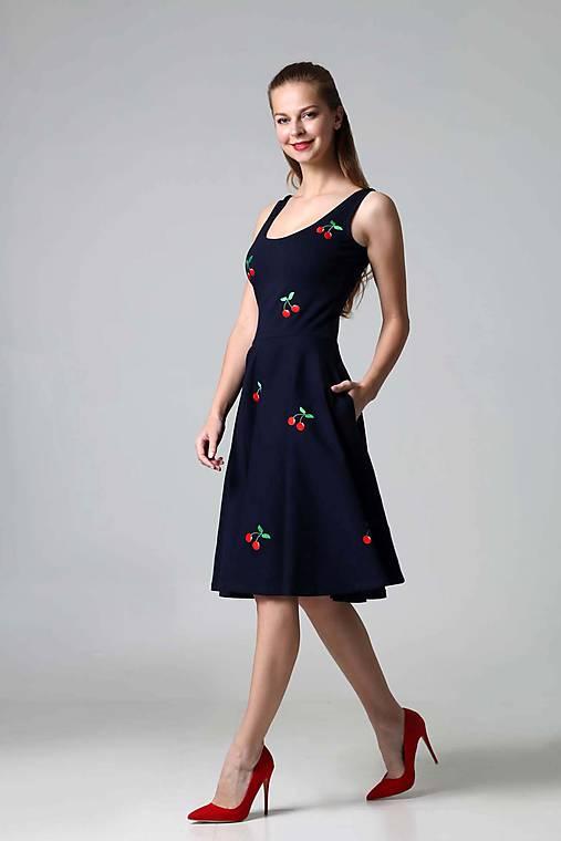 Šaty - Čerešničky modré - 9432884_