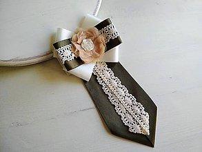 Odznaky/Brošne - Dámska kravata/brošňa pod golier Ivory&Olive - 9435448_