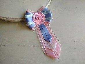 Odznaky/Brošne - Dámska kravata/brošňa pod golier Modro-ružová - 9435711_