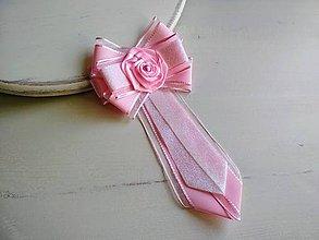 Odznaky/Brošne - Dámska kravata/brošňa pod golier Ružová - 9435739_