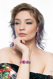 Sady šperkov - Rivoli inšpirácie...Emerald/Milky Hot Pink - set (náramok a náušnice) - 9433987_