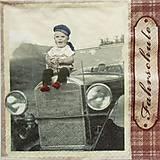 - S1188 - Servítky - boy, chlapec, chlapček, auto, retro, veterán - 9434868_