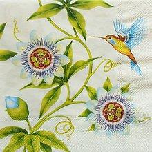 Papier - S1184 - Servítky - kvet, jar, kolibrík, vták, vtáčik - 9434773_