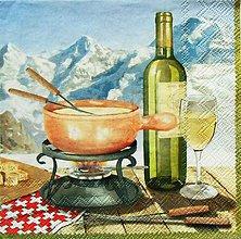 Papier - S1187 - Servítky - hory, víno, fondue, káro, syr, pohár, vrchy, piknik - 9434795_