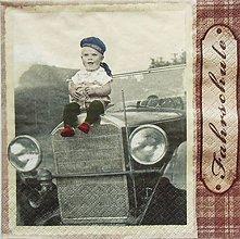 Papier - S1188 - Servítky - boy, chlapec, chlapček, auto, retro, veterán - 9434868_