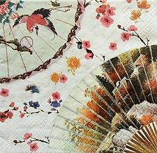 Papier - S1190 - Servítky - Ázia, Čína, sakura, vejár, volavka, exotika - 9434888_