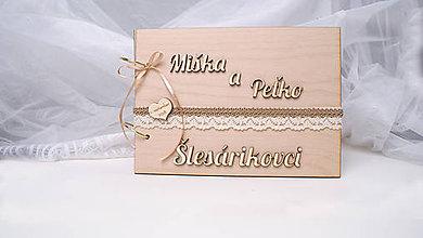 Papiernictvo - Svadobná kniha hostí drevená - 9434992_