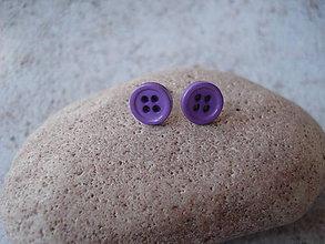 Náušnice - Náušničky - fialové gombíky - 9433078_