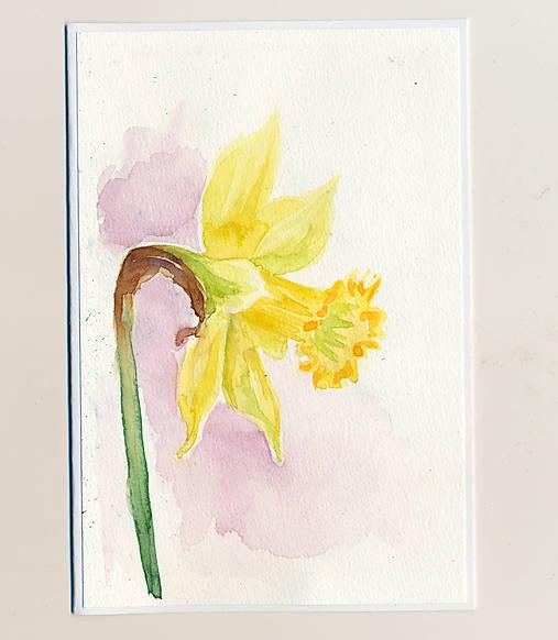 Ručne maľovaná pohľadnica - Narcis na svetlom pozadí
