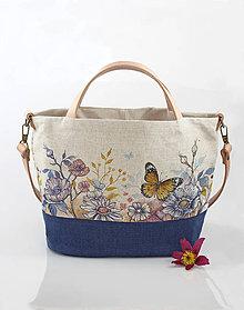 """Kabelky - Elegantná ľanová kabelka s ručnou maľbou """"Garden"""" - 9433014_"""