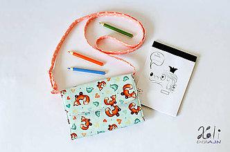 Detské tašky - Detská kabelka - pastelkovníčka Líštičky modré (vrátane vnútorného vybavenia) - 9434777_