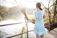 Šaty - Tyrkysové ľanové krátke šaty - 9436295_