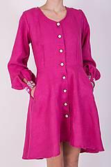 Šaty - Ľanové košeľošaty - 9436395_
