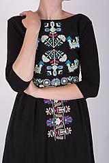 Šaty - Čierne vyšívané šaty - 9436428_