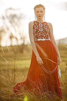 Šaty - Červené plisované šaty Slavianka - 9436195_