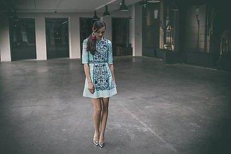 Šaty - Tyrkysové šaty so striebornou niťou Slavianka - 9436313_