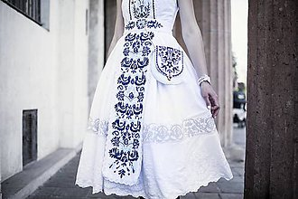 Šaty - Biele šaty s opaskom Slavianka - 9436355_