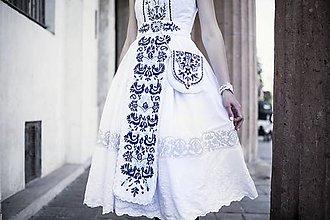 Šaty - Zľava - 25% Biele šaty s opaskom Slavianka - 9436355_